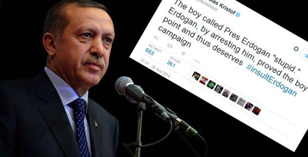 '16 yaşındaki çocuk  Erdoğan'a 'aptal' dedi, o da onu tutuklatarak bunu hak ettiğini kanıtladı'