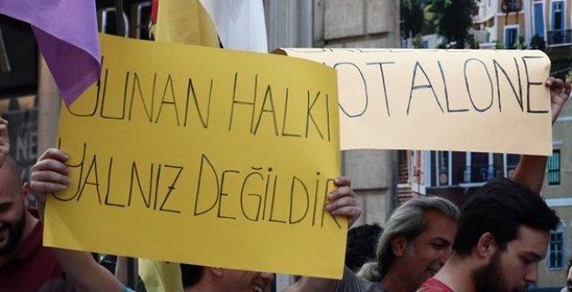 İstiklal Caddesi'nde Tsipras hükümetine destek eylemi