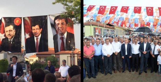 AKP'den seçim mitingi gibi 'şehit mevlidi': Parti bayrakları, Erdoğan ve Davutoğlu posterleri