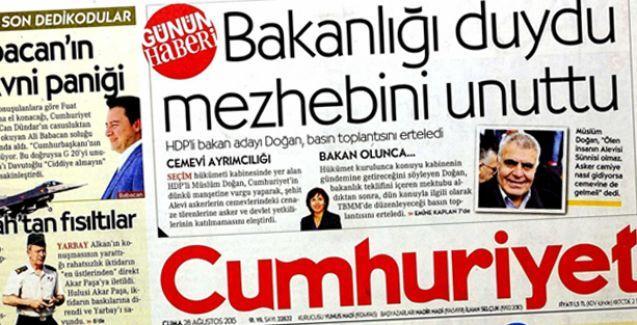 Müslüm Doğan'dan Cumhuriyet'in manşetine protesto