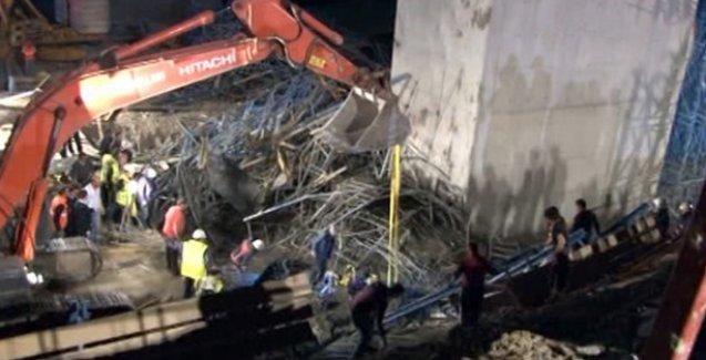 Viyadük inşaatında iskele çöktü: 1 işçi öldü
