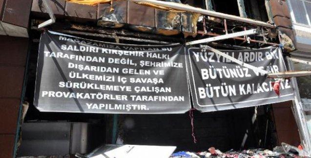 Kırşehir'de işyeri yakılan esnaftan 'bir bütünüz ve bir bütün kalacağız' mesajı