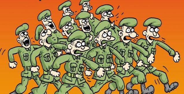 Leman kapağında askerler '400 vekil için' uygun adım yürüyor