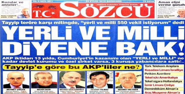 Sözcü gazetesi AKP'yle ırkçılık yarışına girişti