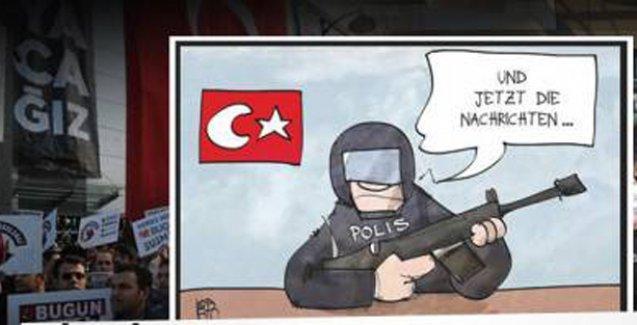 Alman karikatüristler medyaya baskını ve Erdoğan'ı çizdi