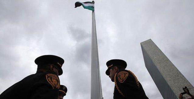 Filistin bayrağı BM Genel Merkezi'nde