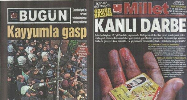 Kayyum, Bugün ve Millet gazetelerinin basımını durdurdu