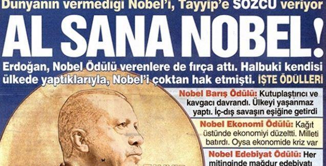 Sözcü'den Erdoğan'a: Al sana Nobel