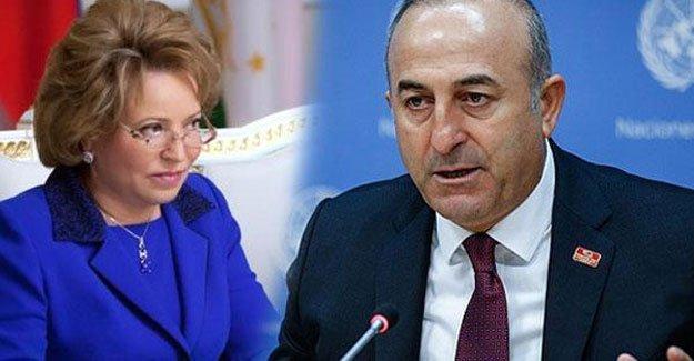 Çavuşoğlu, Rusya Federasyon Konseyi Başkanı'yla görüştü