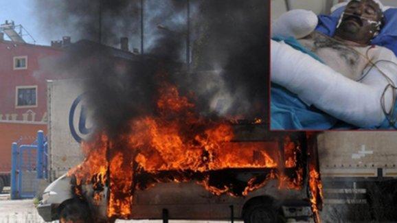 HDP minibüsünü sürücüsüyle ateşe verene 24 yıl hapis istendi