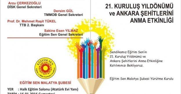 Eğitim Sen'in kuruluş yıl dönümünde Ankara Katliamı'nda yitirilenler anılacak