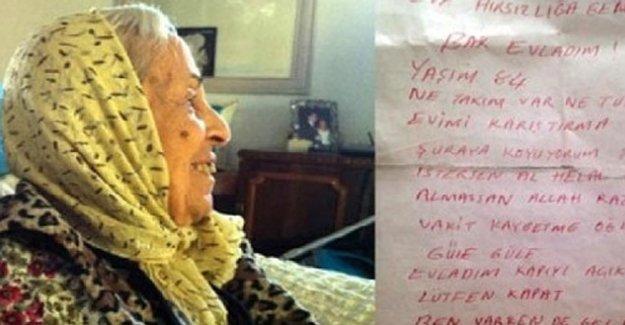 84 yaşındaki kadından hırsıza not: Evladım kapıyı açık bırakma