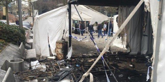 Brüksel'de PKK flamalarının asıldığı çadır yakıldı