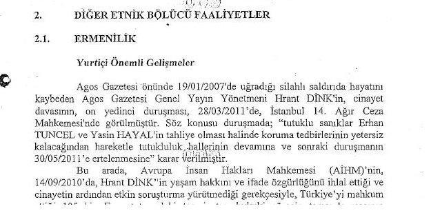 MİT'e göre Hrant Dink davası 'bölücü faaliyet'