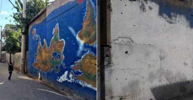 Cizre'de bir duvar: Polis, dünya haritasını 'gizli mesaj var' diyerek sildi