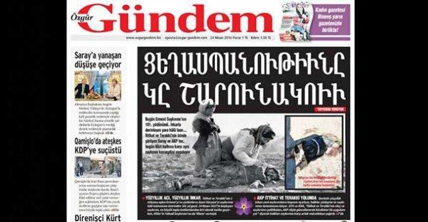 Özgür Gündem'den Ermenice manşet: Soykırım Sürüyor