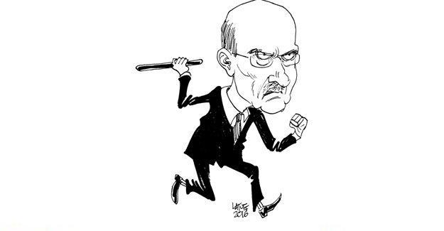 Latuff, güvenlik görevlisini döven Erdoğan Bayraktar'i çizdi