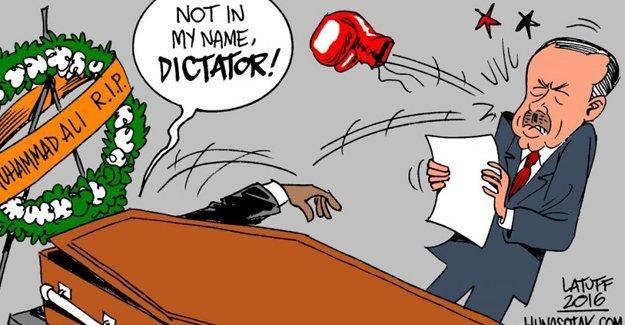 Latuff, Muhammed Ali'nin cenazesine katılan Erdoğan'ı çizdi