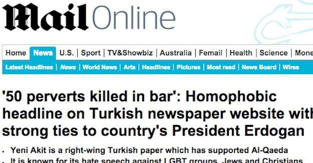 Yeni Akit'in homofobik başlığı dünya basınında