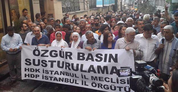 'Özgür Gündem'e baskın' protestosu: 'Özgür basın susturulamaz'