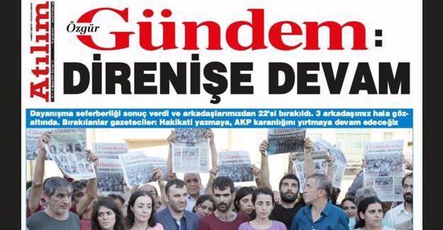Özgür Gündem'in bugünkü manşeti: 'Direnişe Devam'