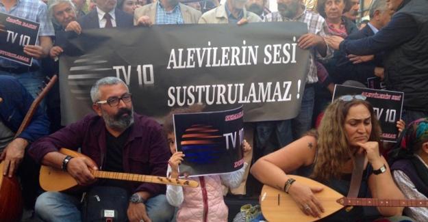 TV10'un kapatılması Taksim'de protesto edildi