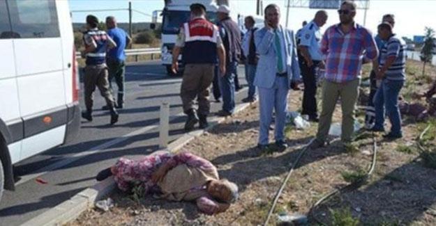 Zeytin işçilerini taşıyan otobüs devrildi: 18 yaralı