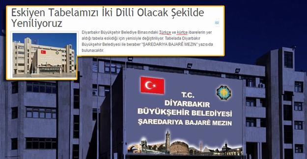 Diyarbakır Büyükşehir Belediyesi'nin tabelası söküldü: 'Amed' gitti yerine 'Türk bayrağı' geldi