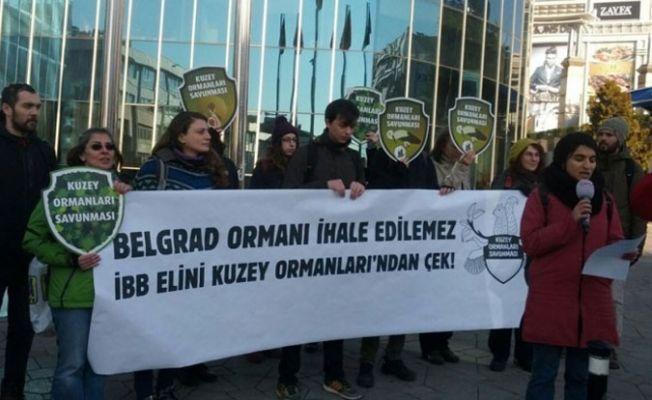 Belgrad Ormanına 'dekovil hattı' ihalesine protesto