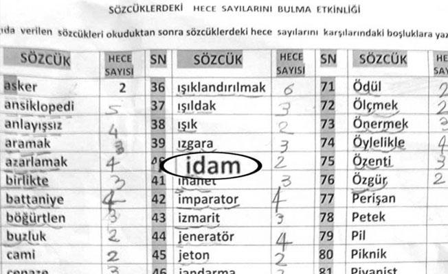Kocaeli'de 1. sınıf öğrencilerine 'idam'ı hecelettiler