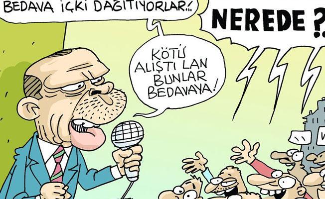 Sefer Selvi, Erdoğan'ın 'bedava içki dağıtıyorlar' açıklamasını çizdi: Nerde?