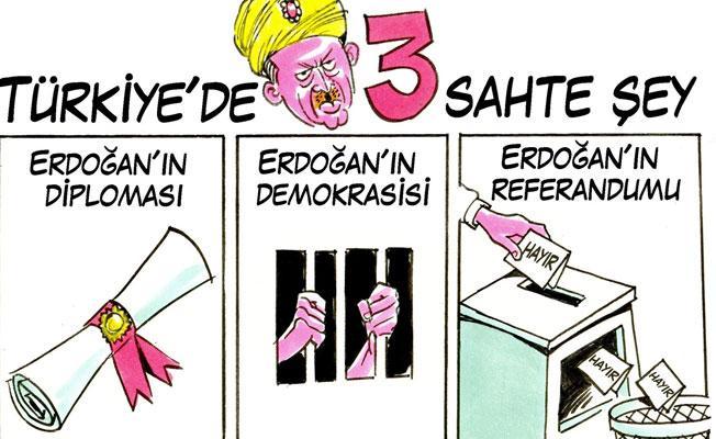 Carlos Latuff çizdi: 'Türkiye'de 3 sahte şey'