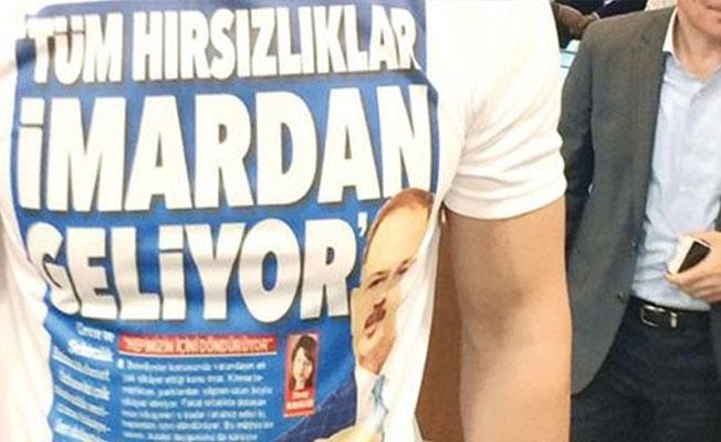 Meclis'e 'Tüm hırsızlıklar imardan geliyor' tişörtüyle katıldı