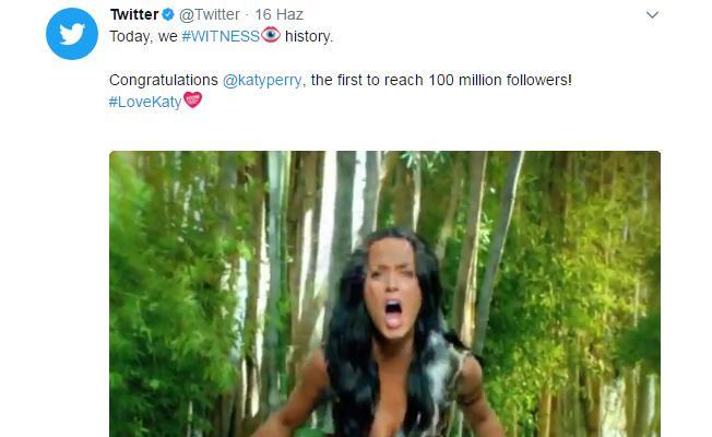 Twitter 100 milyon takipçiye ulaşan ilk kişi olan Katy Perry'yi tebrik etti