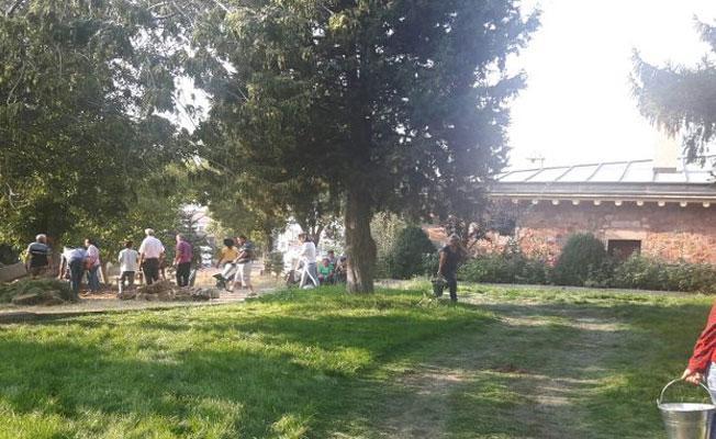 Hacı Bektaş Veli Dergahı'na abdesthane için kepçe girdi