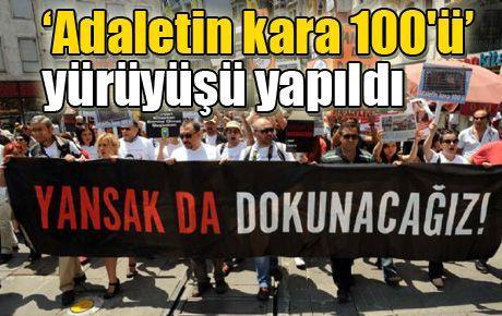 'Adaletin kara 100'ü' yürüyüşü yapıldı