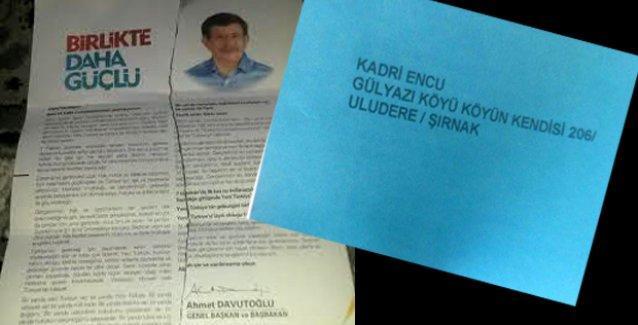 AKP şimdi de Roboskili ailelere mektup göndererek oy istedi!