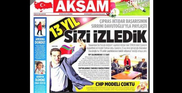 Akşam gazetesi Syriza'nın başarısını AKP'ye bağladı!