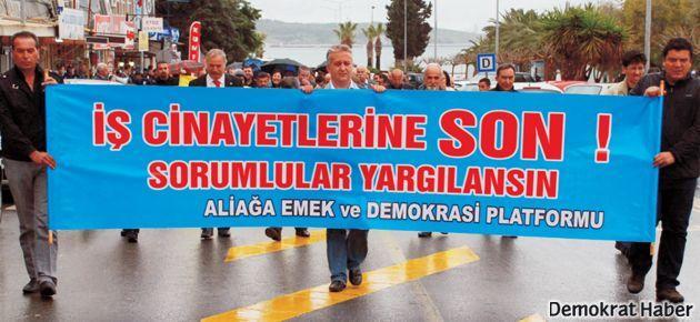 Aliağa'da iş cinayetleri protesto edildi