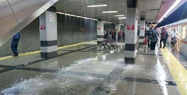 Ankara'da metroyu su bastı