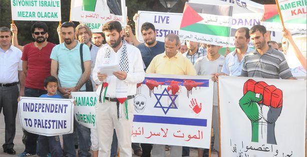 Araplar ve Mıhallemilerden Filistin ve Rojava'ya destek eylemi