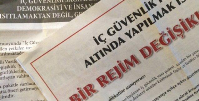 Barolardan İç Güvenlik Paketi'ne karşı gazete ilanı