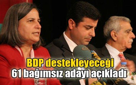 BDP destekleyeceği 61 bağımsız adayı açıkladı