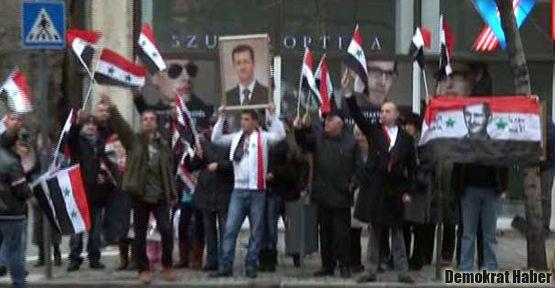 Beşar Esad yanlılarından Başbakan'a protesto