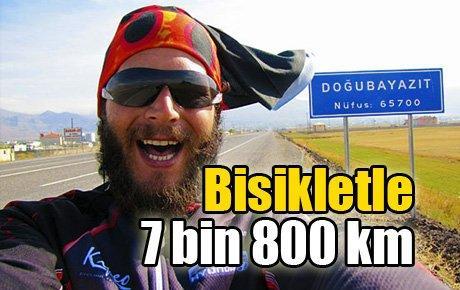 Bisikletle beş kuruşsuz 7 bin 800 km