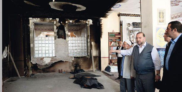 Caferiler'e ait cami kundaklandı