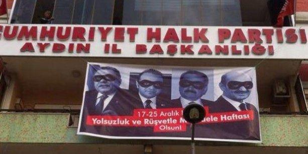 CHP binasına yolsuzluk pankartı astı, polis binayı basmak için harekete geçti