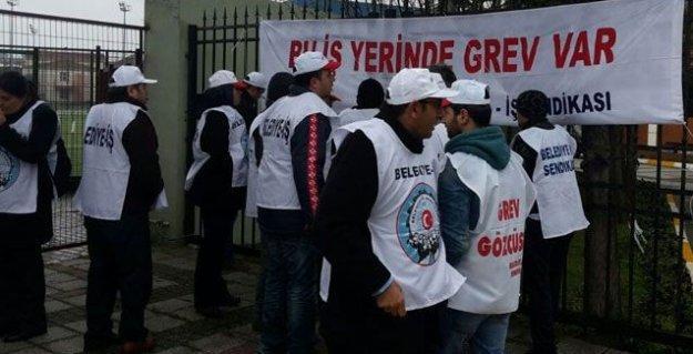CHP'li belediyede çalışan taşeron işçiler grevde