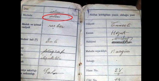 Dersim'de tarihi fişleme belgesi: 'Dini: İslam, Mezhebi: Alevi' yazılı nüfus cüzdanı bulundu!