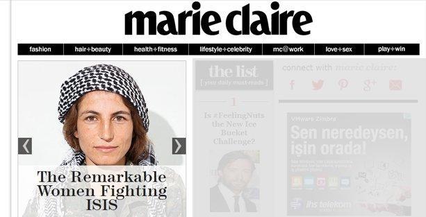 Elle'den sonra Marie Claire de Kürt kadın savaşçılara yer verdi